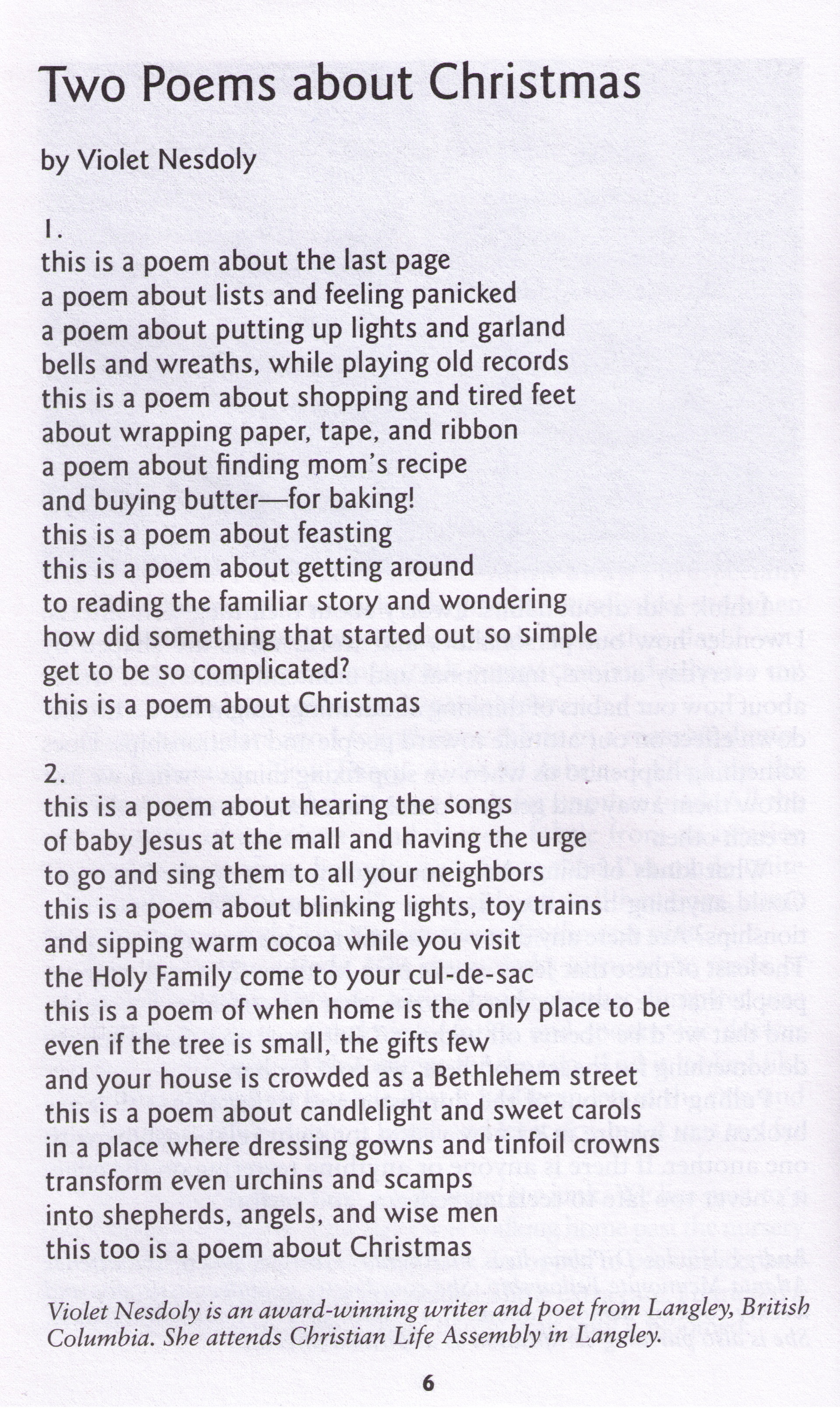Christmas poems for church programs - November 2011