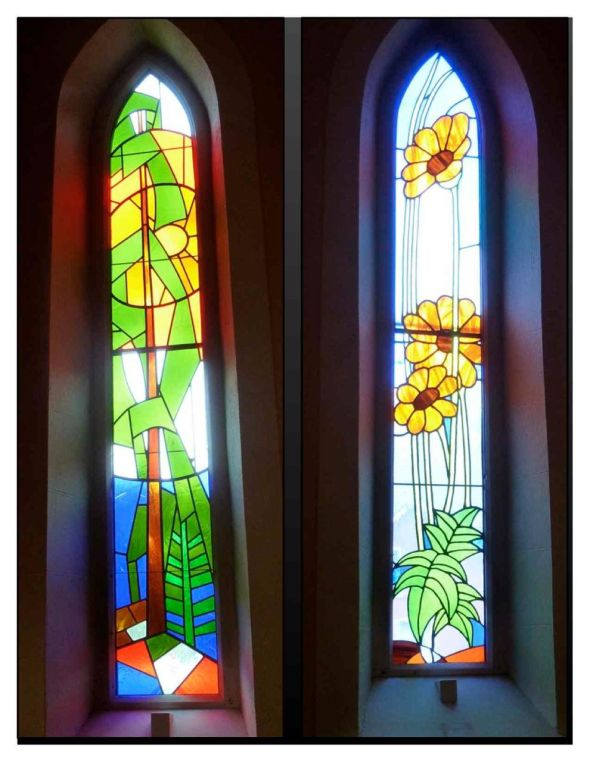 Stained glass windows from Church of St. John Evangelist - Elora, ON