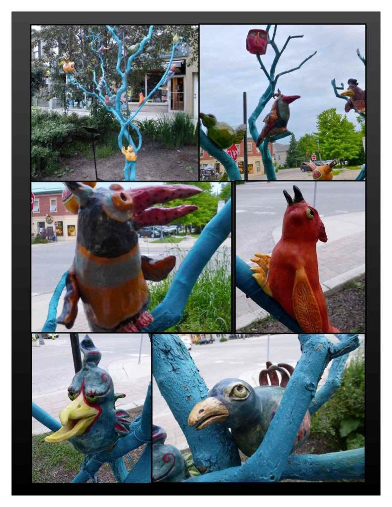 """""""Birds of a Feather"""" - Sculpture by various artists - Elora On."""