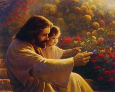 Jesus, teaching about flowers - Artist unknown