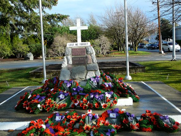 Langley, BC, Cenotaph after the Remembrance Day ceremony, 2007
