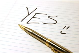 """Yes"" written on lined paper"