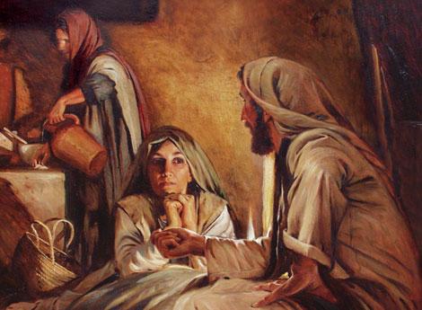 Martha, Mary & Jesus - Artist unknown