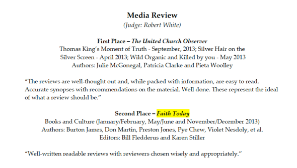 2nd place - Canadian Church Press Awards 2014 - Media Rvw