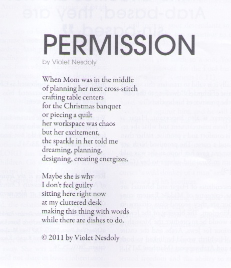 """Permission"" poem by Violet Nesdoly"
