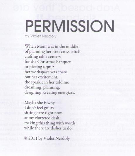 """Permission"" poem by Violet Nesdoly"