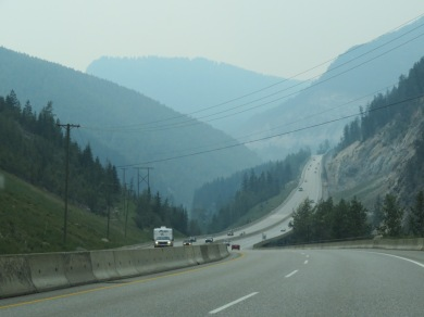 Smoky hills in the distance - Hwy 1 between Golden and Kamloops - July 16, 2017 (Photo © 2017 by V. Nesdoly)