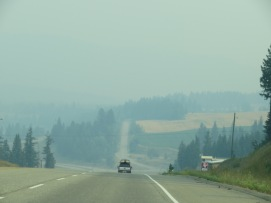 The smoke thickened as we got closer to Kamloops Hwy 1 - July 17 (Photo © 2017 by V. Nesdoly), 2017