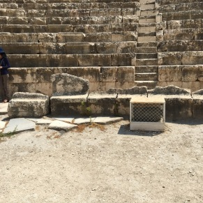 Box seats of Beit Shean (front row, the ones with broken backs). (Photo © 2019 by V. Nesdoly)