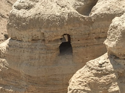 Distant and closeup view of Cave 4, Qumran, where some of the Dead Sea scrolls were found. (Photo © 2019 by V. Nesdoly)