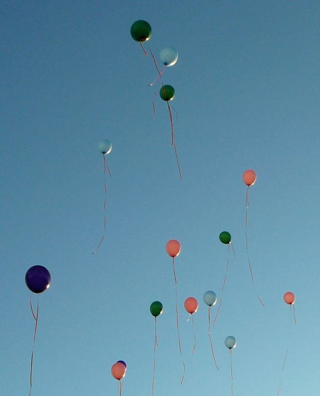 Balloons floating in air