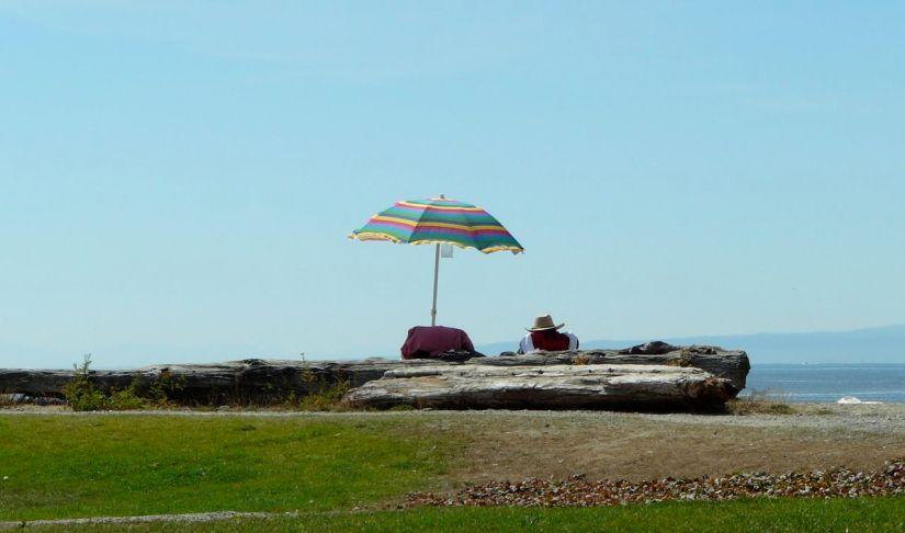 Beach umbrella & hat at the beach