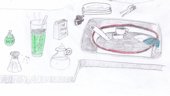 """Dishes"" sketch by Violet Nesdoly"