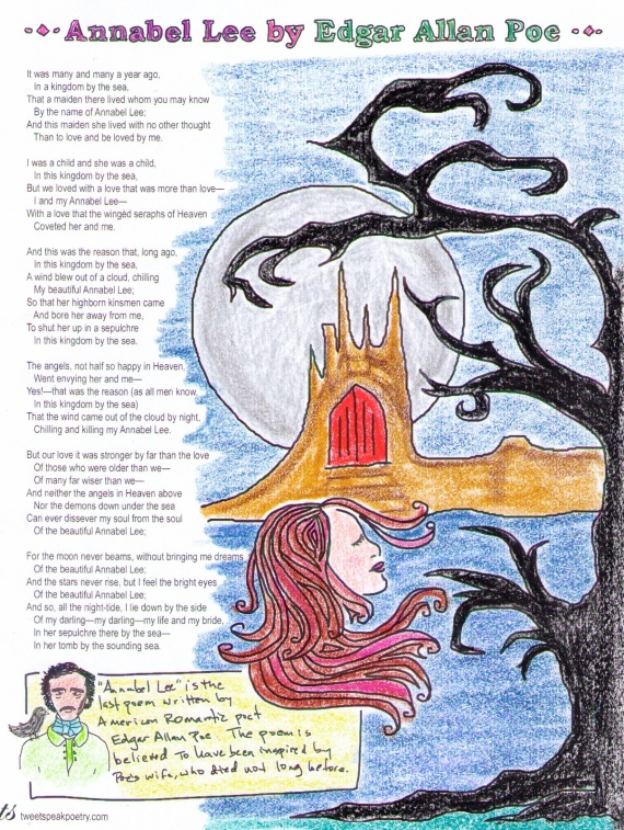 "Coloring Page - ""Annabel Lee"" by Edgar Allan Poe"