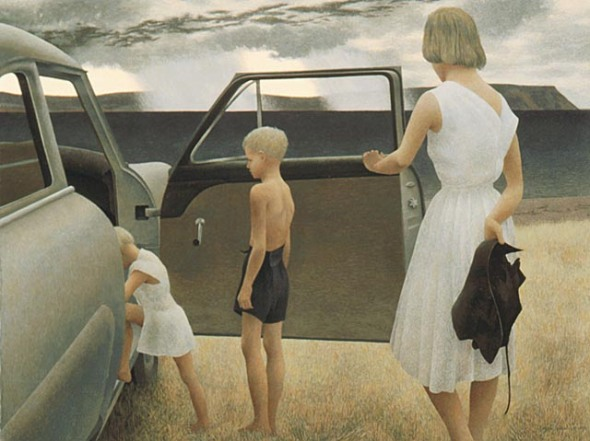 """Family and Rainstorm"" by Alex Colville"