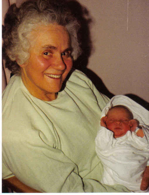 My mother with her newborn granddaughter, my daughter