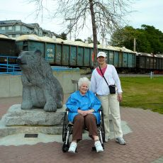 Mom and Violet beside the bear statue - White Rock B.C.