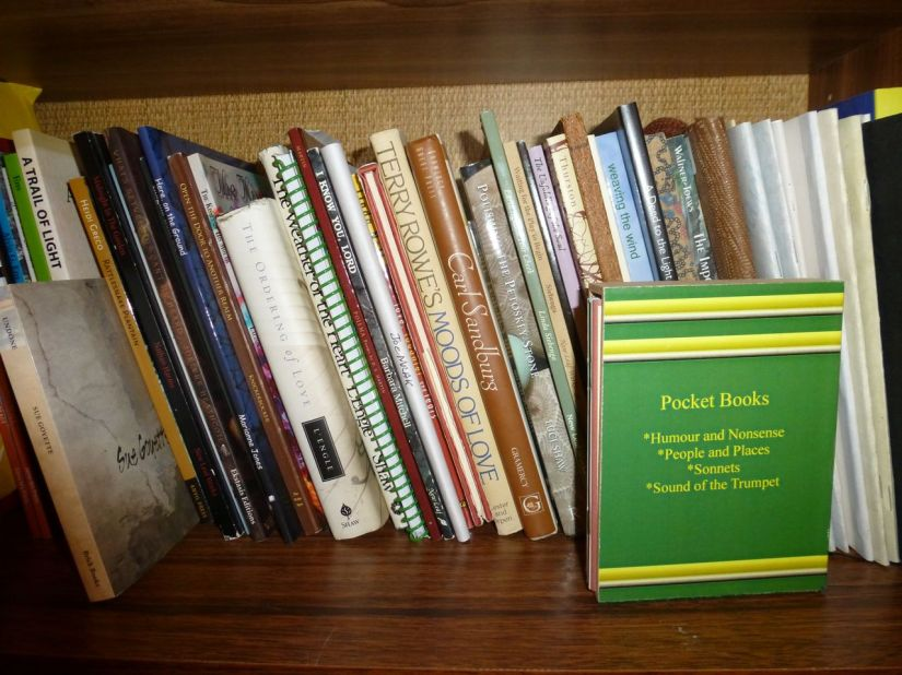Shelf of poetry books