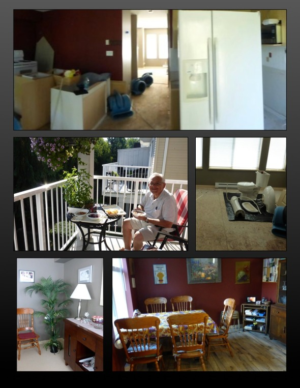 Top to bottom L-R: top two - Destroyed kitchen; 2nd row - We ate a lot of breakfasts and lunch on the balcony; The living room; Row 3 - Living room restored; Kitchen restored.