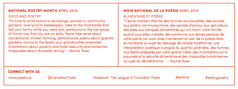 Poetry Month Poster - League of Canadian Poets